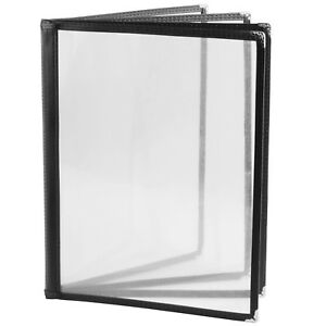 30x New 8 5x11 Black Vinyl 4 pages 8 Sides Clear Menu Covers Restaurant Diner