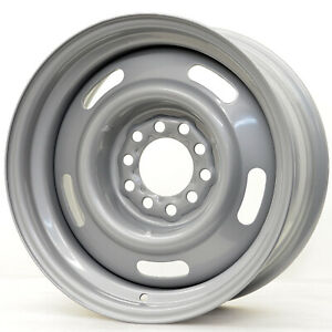 Hot Rod Hanks 55 Rally Rim 15x7 5x4 5 5x4 75 Offset 6 Silver Paint qty Of 4
