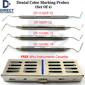 3pcs Dental Periodontal Color Marking Probes Cp 10 11 12 18 unc 12 15 Cassette