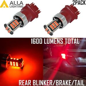 Alla Lighting 3157k Led Brake Tail Rear Turn Signal Blinker Light Bulb Lamp Red