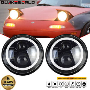 H4 Led Headlights With White Halo Drl Turn Signal For 1990 1997 Mazda Miata Mx5