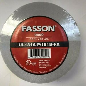 Fasson 56477 02160180 0800 2 5 X 60 Yards Silver Foil Tape For Hvac Duct