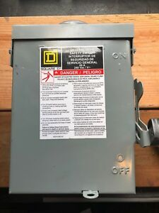 New Square D Du222rb Disconnect Safety Switch Box 60a 240 Vac 3r 3 Pole No Box