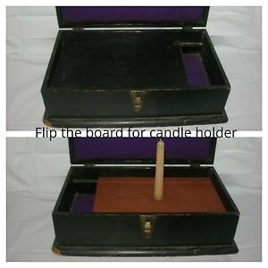 Primitive Old Antique Wood Document Box Candle Storage Wooden Treen Box Country