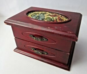 Vintage Wood Trinket Jewelry Case Sewing Box Petit Point D Cor Mid Century Deco