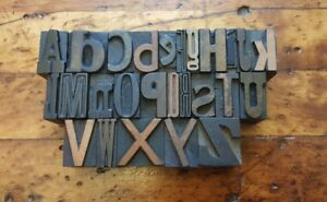 1 A z Vintage Letterpress Wood Type Print Block Alphabet Mixed Fonts 26 Pcs