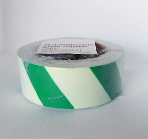 Industrial Photoluminescent Glow In The Dark Tape Green Diagonal 1 5 In X 33 Ft
