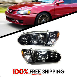 Toyota Corolla Jdm Pair Headlights Black Housing Clear Lenses Fit Years 01 02