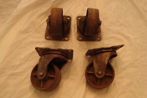 4 Antique Matching Bassick No 14 Cast Iron Industrial Caster Cart Wheels