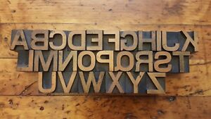 13 16 A z Vintage Letterpress Wood Type Print Block Alphabet Matching 26 Pcs