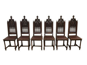 Showy Set Of Six Antique French Gothic Chairs Tall Oak 19th Century