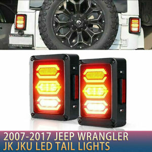 Smoked Led Tail Lights For 2007 2017 Jeep Wrangler Jk New Free Shipping Us