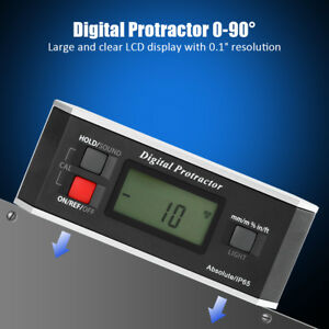 Digital Protractor Angle Finder Gauge Inclinometer Backlight Magnetic Base 0 90