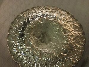 Embossed Repousse Reed Barton Strawberry Centerpiece Bowl Serving Tray Platter