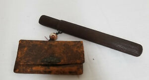 Antique Lacquer Japanese Leather Smoking Tobacco Pouch Tobacciana Case