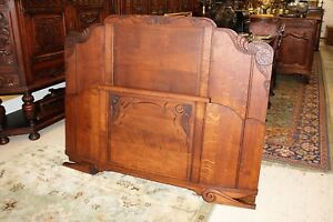 Antique French Tiger Oak Art Deco Full Or Queen Size Double Panel Bed W Rails