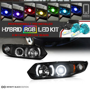 3200 Lumen Rgb Bulbs 06 11 Honda Civic Coupe Fg Black Halo Angel Eye Head Lamp