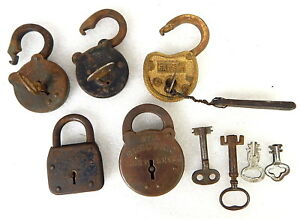 Antique Padlock Lock And Key Lot Reese Sargent Electric City