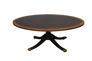 Kindel Oxford Mahogany Oval Inlaid Banded Coffee Table