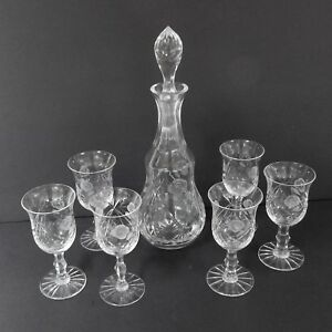 Cut Glass Decanter With Six Wine Glasses