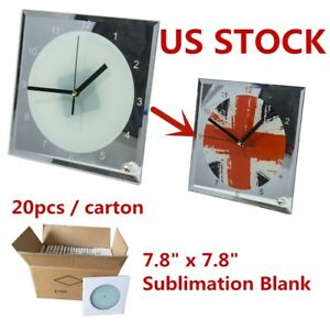 Usa Stock 20pcs 7 8 X 7 8 Sublimation Blank Glass Photo Frame With Clock