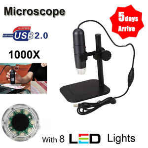8leds 50x 1000x Usb Digital Microscope Endoscope Magnifier Video Stand