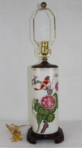 Vtg Antique Chinese Porcelain Cylinder Vase With Stand Converted To Lamp W Bird