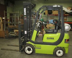 Clark Cmc 15l 2 200 Lb Lp Forklift Solid Tires 3 stage Mast Side Shift 69 Hours