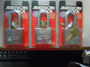 Lot Of 3 american Lock 2 Chrome Plated Solid Steel Padlock With 2 X 3 8
