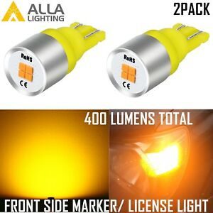 Allalighting Led 168 Front Side Marker License Plate Tag Light Bulb Amber Yellow