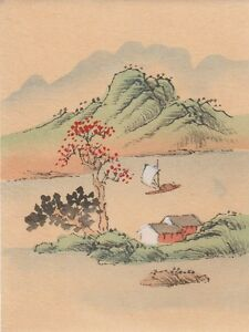 Hand Painted Japanese Miniature Ink Drawing With Sailboat On Rice Paper C 1930s
