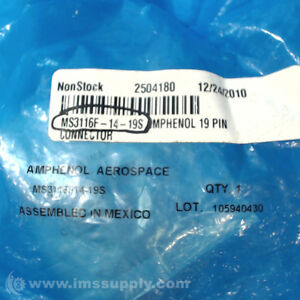 Amphenol Aerospace Ms3116f 14 19s Receptacle Connector Fnfp