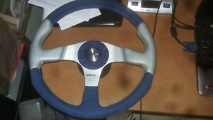 Barely Used13 5 Momo Race Evo Blue Suede leather Steering Wheel 350mm W adapter