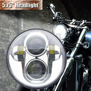 Universal Chrome 5 75 Motorcycle Led Hi Lo Headlight Lamp Projector For Harley