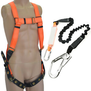 Full Body Fall Protection Safety Harness W 6 Shock absorbing Safety Lanyard