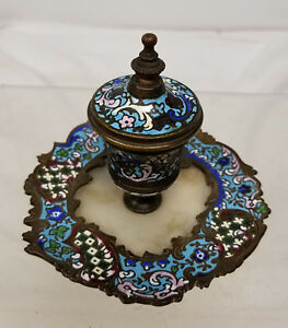 Antique French Gilt Bronze Champleve Cloisonne Enamel Inkwell Limoges