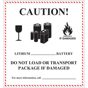 Tape Logic Labels caution Lithium Battery Handling 4 5 8 X 5 Black white r