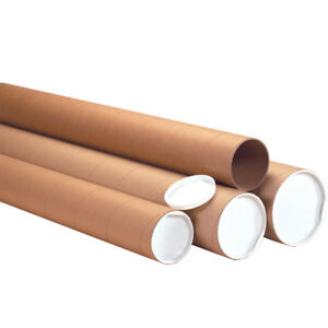 Box Partners Heavy duty Mailing Tubes With Caps 3 X 24 Kraft 24 case P3024khd