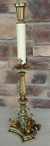 French 19th Century Electric Brass Altar Candlestick 3 Lamp