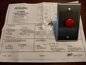 701rdxmom Schlage Red Push Button On Stainless Plate Access Control