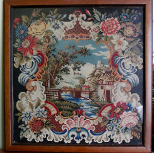 Antique Victorian Needlepoint Tapestry Embroidery 19th Century Europe