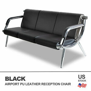 Office Airport Waiting Chair Bench 3 seat Reception Pu Leather Guest Sofa Seat