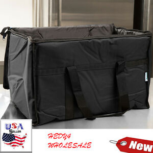 Black Industrial Nylon Insulated Food Delivery Bag Chafer Pan Carrier Pay less