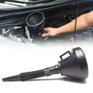 Black Auto Car Motorcycle Flexible Funnel Strainer Oil Water Gas Fuel Plastic