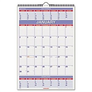 Recycled Three month Calendar 15 1 2 X 22 3 4 2014 X 3
