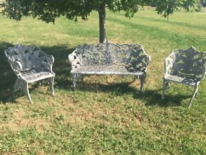 Antique Victorian Cast Iron Garden Bench And Chairs With Desirable Fern Pattern
