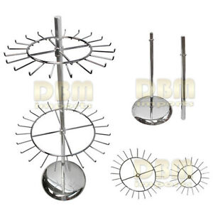 Round Tie Belt Display Rack 2 Tiers Revolving Chrome Spinning Spinner Fixture