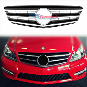 For Mercedes Benz W204 3 Fins Black Front Grill Grille C300 C350 C250 2008 2014