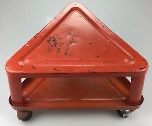 Vtg Retro Red Metal Creeper Mechanic Stool Triangle Roller Seat W Storage Tray