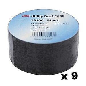3m Black Gaffa Tape 1910c Waterproof General Repairs 48mm X 10m X 9